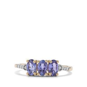 AA Tanzanite & Diamond 10K Gold Ring ATGW 1.09cts