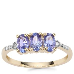 AA Tanzanite Ring with Diamond in 9K Gold 1.09cts