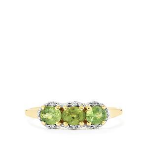 Ambanja Demantoid Garnet Ring with Diamond in 10k Gold 1.09cts