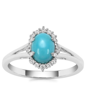 Sleeping Beauty Turquoise Ring with White Zircon in Sterling Silver 1.32cts