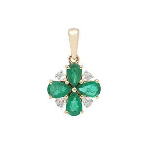 Zambian Emerald & White Zircon 9K Gold Pendant ATGW 1.90cts
