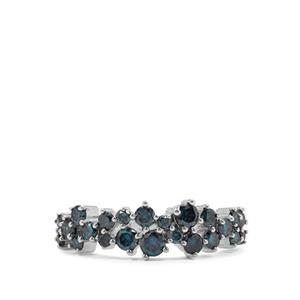 Blue Diamond Ring in Sterling Silver 0.95ct