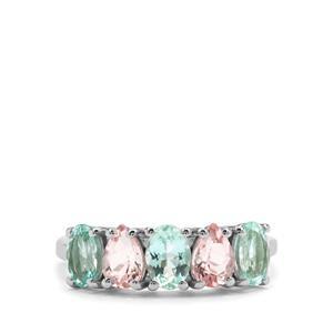 Aquaiba™ Beryl & Cherry Blossom™ Morganite 9K White Gold Ring ATGW 1.97cts