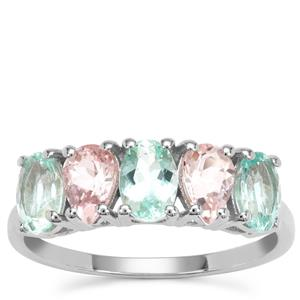 Aquaiba™ Beryl Ring with Cherry Blossom™ Morganite in 9K White Gold 1.97cts