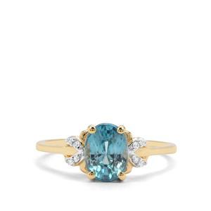 2.08ct Ratanakiri Blue & White Zircon 9K Gold Ring