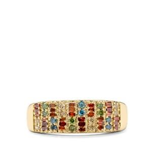 1/2ct Red, Champagne, Green & Blue Diamond 10K Gold Ring