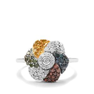 3/4ct Blue, Cognac, Green, Yellow & White Diamond Sterling Silver Ring
