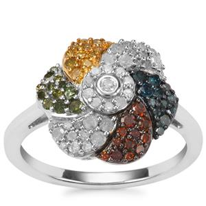 Blue, Cognac, Green, Yellow Diamond Ring with White Diamond in Sterling Silver 0.77ct