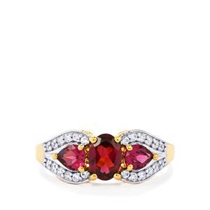 Ajmer Garnet & White Zircon Gold Vermeil Ring ATGW 1.98cts