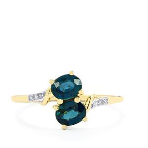 Nigerian Blue Sapphire & Diamond 10K Gold Ring ATGW 1.31cts