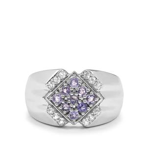 Tanzanite & White Topaz Sterling Silver Ring ATGW 0.62ct