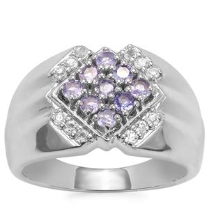 Tanzanite Ring with White Topaz in Sterling Silver 0.62ct