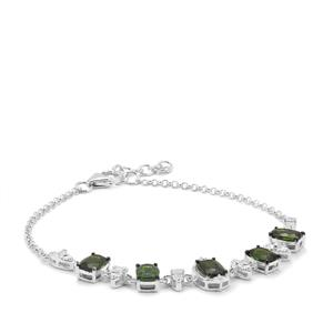 Chrome Diopside Bracelet with White Zircon in Sterling Silver 4.74cts