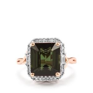 Green Tourmaline Ring with Diamond in 18K Rose Gold 7.09cts