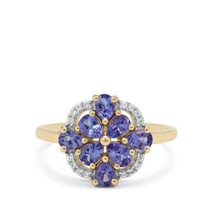 AA Tanzanite Ring with White Zircon in 9K Gold 1.20cts