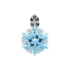 Wobito Snowflake Cut Swiss Blue Topaz Pendant with Blue Diamond in 9K White Gold 5.51cts