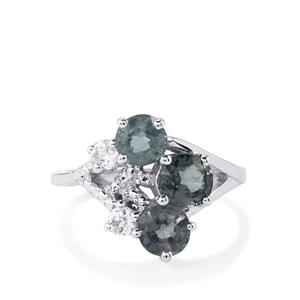 Burmese Spinel & White Zircon Sterling Silver Ring ATGW 2.61cts