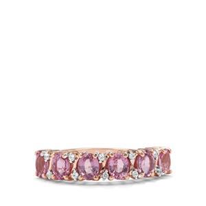 Sakaraha Pink Sapphire & White Zircon 9K Rose Gold Ring ATGW 1.58cts