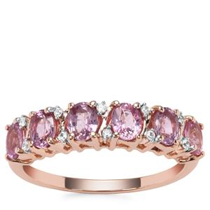 Sakaraha Pink Sapphire Ring with White Zircon in 9K Rose Gold 1.58cts