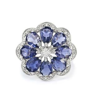 Bengal Iolite & White Topaz Sterling Silver Ring ATGW 4.41cts