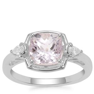 Brazilian Kunzite Ring with White Zircon in Sterling Silver 2.68cts