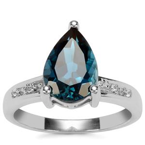 Marambaia London Blue Topaz Ring with White Zircon in Sterling Silver 3.37cts
