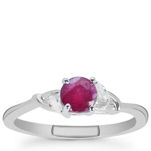 Luc Yen Ruby Ring with White Zircon in Sterling Silver 0.83ct