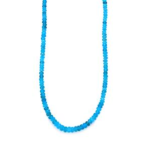 Neon Apatite Graduated Bead Necklace  in Sterling Silver 37cts