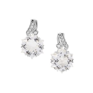 Wobito Snowflake Cut Itinga Petalite Earrings with Diamond in 9K White Gold 3.92cts