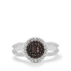 1/20ct Champagne & White Diamond Sterling Silver Ring