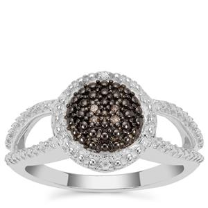 Champagne Diamond Ring with White Diamond in Sterling Silver 0.06ct