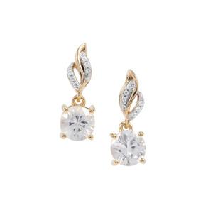 Singida Tanzanian Zircon Earrings White Zircon in 9K Gold 1.63cts