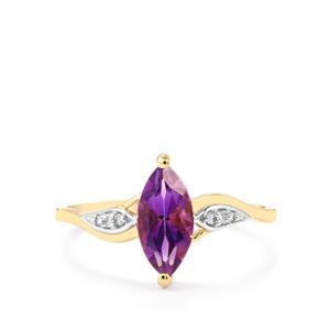 Moroccan Amethyst & Diamond 10K Gold Ring ATGW 1.04cts