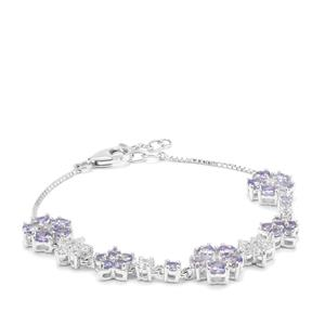 Tanzanite Bracelet with White Zircon in Sterling Silver 6.42cts