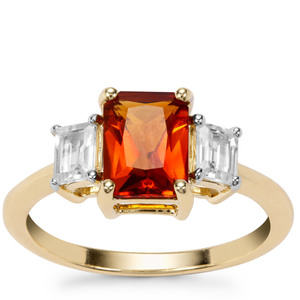Madeira Citrine Ring with White Zircon in 9K Gold 1.93cts