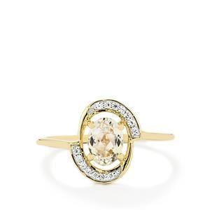 Minas Gerais Kunzite & White Zircon 9K Gold Ring ATGW 1.11cts