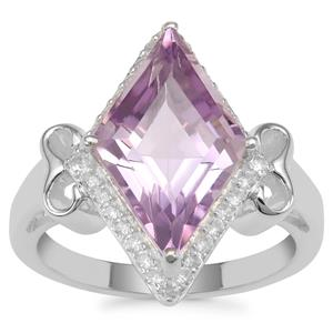 Ametista Amethyst Ring with White Zircon in Sterling Silver 4.88cts