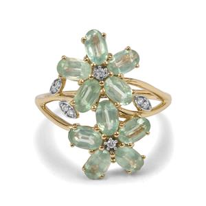 Odisha Kyanite & White Zircon 9K Gold Ring ATGW 3.44cts