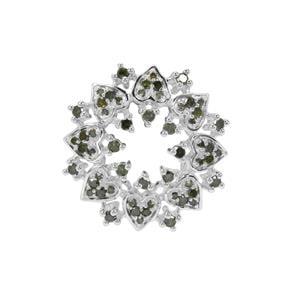 1/2ct Green Diamond Sterling Silver Pendant