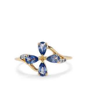 Ceylon Sapphire & White Zircon 10K Gold Ring ATGW 0.82cts