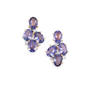 AAA Tanzanite Earrings with Diamond in 18K Gold 4.89cts