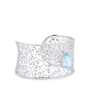 Sky Blue Topaz Oval Bangle in Sterling Silver 7.07cts