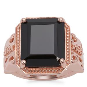 Black Spinel Ring in Rose Gold Plated Sterling Silver 11.50cts