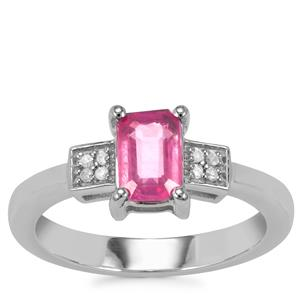 Ilakaka Hot Pink Sapphire Ring with Diamond in Sterling Silver 1.34cts (F)