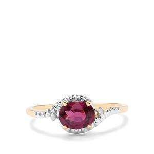 Comeria Garnet & Diamond 9K Gold Ring ATGW 1.13cts