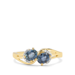 Sant Sapphire & Diamond 9K Gold Ring ATGW 0.88cts