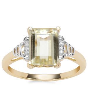Minas Novas Hiddenite Ring with Diamond in 9K Gold 3.05cts