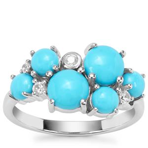 Sleeping Beauty Turquoise Ring with White Zircon in Sterling Silver 2.90cts