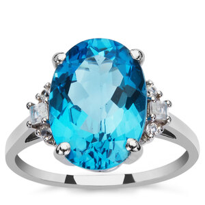 Swiss Blue Topaz & White Zircon 9K White Gold Ring ATGW 6.75cts