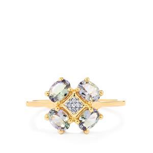 Bi Colour Tanzanite & Diamond 9K Gold Ring ATGW 1.20cts